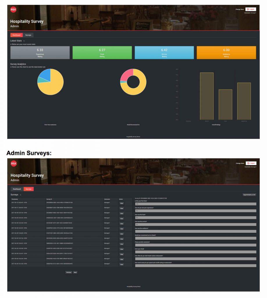 Hospitality Survey App REST API Client Server Template For